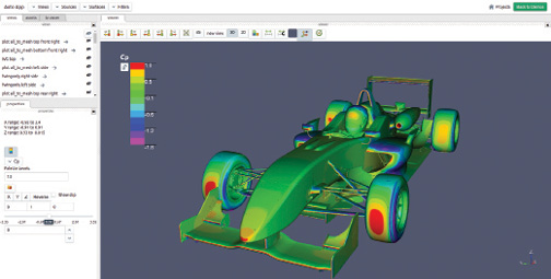 Example interface of 3D viewer for F3 vehicle using TotalSim's results web application hosted at Ohio Supercomputer Center.