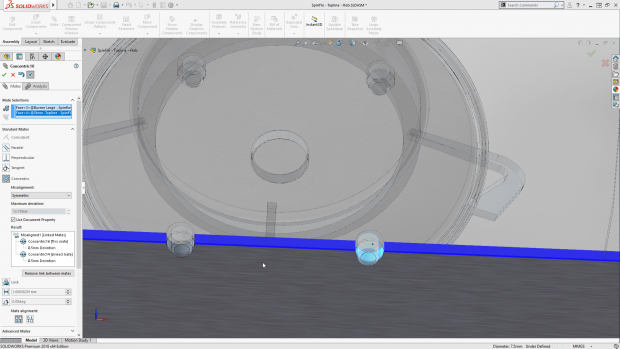 Among the enhancements in SOLIDWORKS 2018 for working with assemblies are Adding Mates Between Hidden Surfaces, Misaligned Mates and Smart Explode Line Tool. Shown here is the Misaligned Mates capability. Image courtesy of Dassault Systèmes SOLIDWORKS Corp.