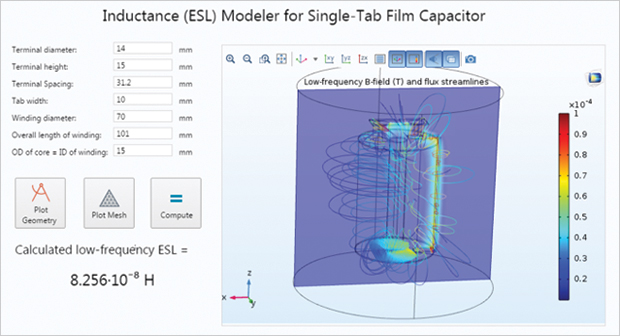 Cornell Dubilier created several apps for electrical optimization. The image shows one app that calculates effective series inductance (ESL) of a single-tab film capacitor. Simulation app made using COMSOL Multiphysics® software and provided courtesy of Cornell Dubilier.