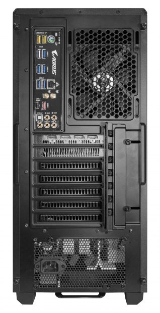 A mid-size tower, the Edge TR comes with a 128GB of DDR4 memory and supports up to four single- or dual-width graphics accelerators as well as a variety of operating systems and storage configurations. Shown here is a rear view of the Edge TR where various port connections are visible. Image courtesy of NextComputing.