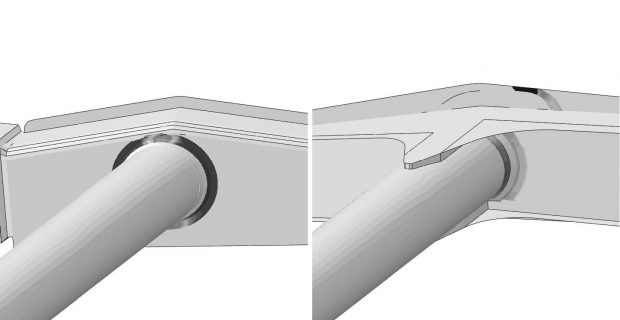 Life contours of the current production (left) and the final design (right) from Verity weld analysis in fe-safe.