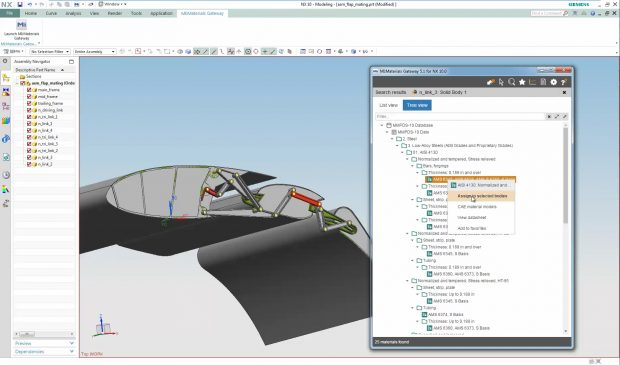 Accessing materials data via the MI:Materials Gateway app in the NX CAD system.