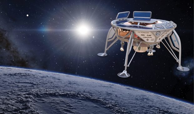 SpaceIL is using a hop concept instead of a rover, meaning the spacecraft will land on the moon's surface and take off again with the fuel remaining in its propulsion system. Image courtesy of XPRIZE.