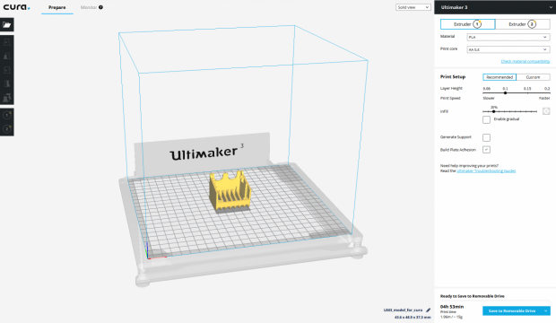 Ultimaker Cura will open, with your design imported, ready to be sliced and printed.