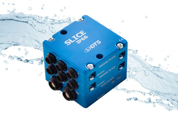 SLICE IP68 miniature data recorders are designed to embed in the test article to collect physical signals in the most extreme environments. Image courtesy of DTS.