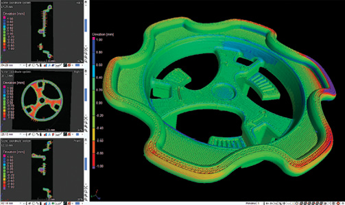 Deviations are a comparative analysis between CAD and the 3D printed specimen. Image courtesy of Laser Design.