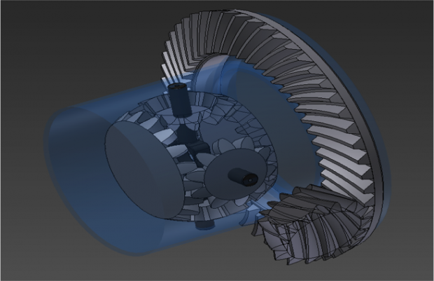 Differential gears with precise geometry. Image courtesy of Hi-Tech CADD Services.