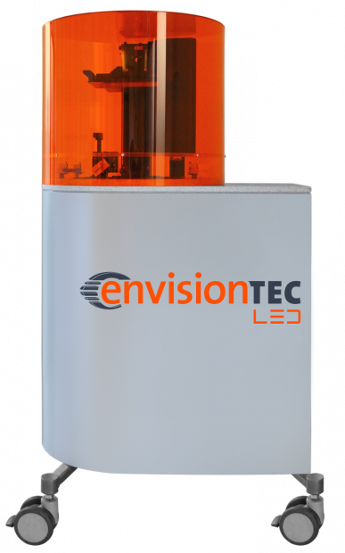 The Perfactory 4 LED XXL DLP (digital light processing) technology-based 3D printer can make end-use parts, functional prototypes, manufacturing aids and investment casting patterns. Image courtesy of EnvisionTEC Inc.