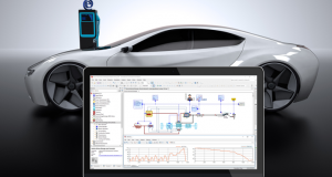 ESI Group has released version 3.9 of its SimulationX platform for multiphysics system simulation. Shown here is a model of an electric vehicle including WLTP (Worldwide Harmonized Light Vehicle Test Procedure) driving cycle, cooling system for the battery and the electric machine as well other data. Image courtesy of ESI Group.