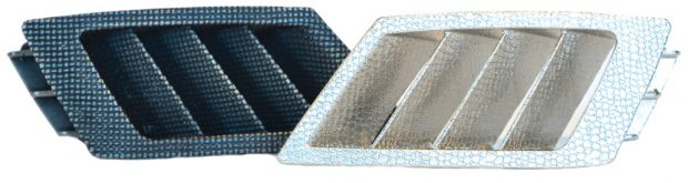 This automotive dashboard vent is shown (left) as the initial piece directly from the Figure 4 production printer and (right) after plating directly onto the part. Image courtesy of 3D Systems.