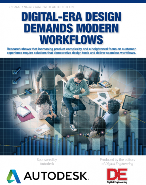 "The paper ""Digital-Era Design Demands Modern Workflows,"" written by DE and sponsored by Autodesk, argues that increasing product complexity and interconnected devices require new design tools and new engineering workflows that the cloud can deliver and that traditional design workflows cannot."