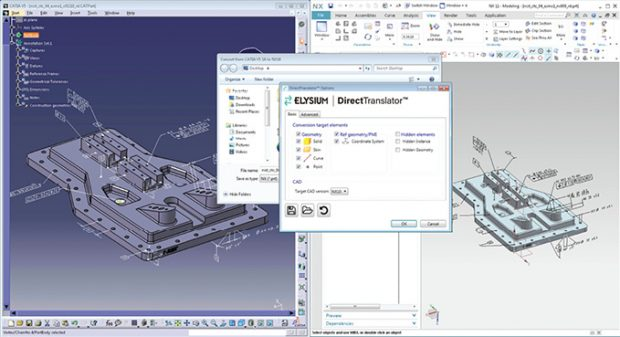 Elysium DirectTranslator ensures 3D data exchange through all current and many legacy CAD systems. Image courtesy of Elysium.