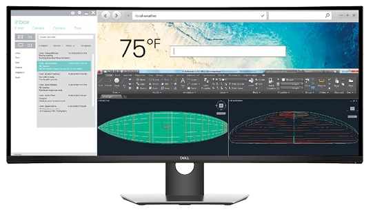 The Dell UltraSharp 38 curved monitor provides an immersive image with a 21:9 aspect ratio.