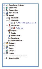 Fig. 8: Model Info tree view, showing Materials and Properties expanded.