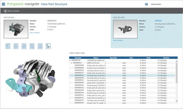 With ThingWorx Navigate, companies can deliver role-based access to accurate product information without going through the pain of a full PLM migration, according to the company. Image courtesy of PTC.