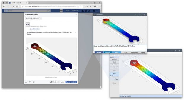 Precise Simulation FEATool Multiphysics social sharing example. Image courtesy of Precise Simulation.