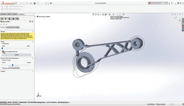 SolidWorks 2018 marks the debut of Topology Study, based on simulation solvers from TOSCA. The tool takes manufacturing constraints into account during the optimization. Images courtesy of SolidWorks.