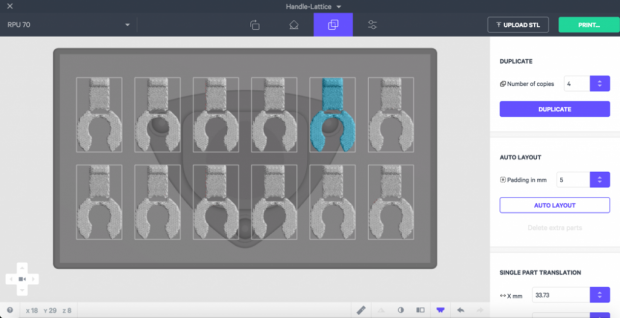 Shown here is Carbon's browser-based software interface being used to lay out a 3D print project. Image courtesy of Carbon Inc.