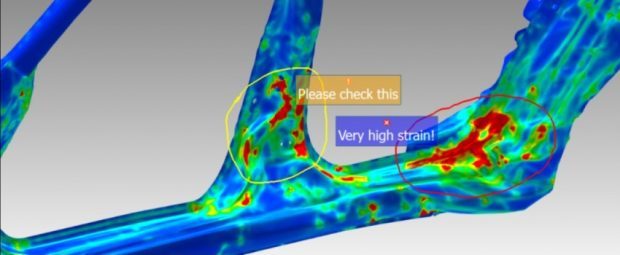 A new Sketch tool debuts in the 18.1.0 versions of the ANSA preprocessor and META post-processor. With it, users can highlight areas of interest on a model and add notes. Image courtesy of BETA CAE Systems.