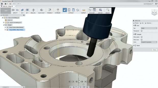 Fusion 360 combines industrial and mechanical design, simulation, collaboration and machining in an integrated concept-to-production toolset. Image courtesy of Autodesk.
