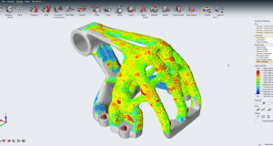 Structural simulation of mixed solid and lattice optimization results. Image courtesy of Altair.