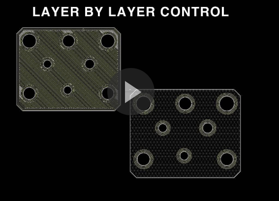 Markforged's cloud-based 3D print software provides granular control of where to lay reinforcing fibers in a continuous stream in a part under development. Shown here are two fill options. Isotropic fill on the left lays down a sheet of fiber in the part. Internal hole concentric fill on the right encircles internal part cavities. Image courtesy of Markforged Inc.