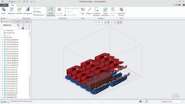 Automatic orientation and positioning of parts to be printed in the printer chamber for efficiency is a desired feature for designers exploring additive manufacturing. Shown here is PTC Creo's deployment of this feature. Image courtesy of PTC.