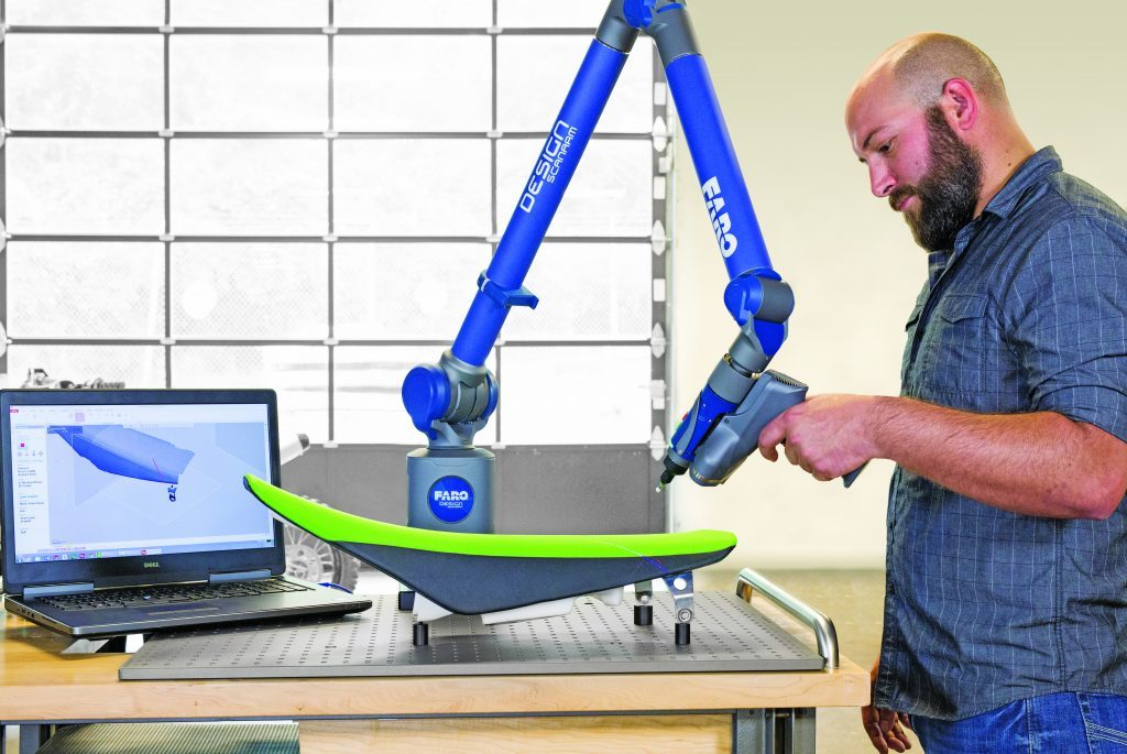 A turnkey 3D scanning solution, FARO's Design ScanArm 2.0 is offered in three maneuverable arm lengths and is available bundled with 3D scanning software. Image courtesy of FARO.