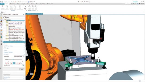 The integrated NX CAD-CAM software lets engineers program robots to perform CNC machining and machine tending using one system. Image courtesy of Siemens PLM Software.