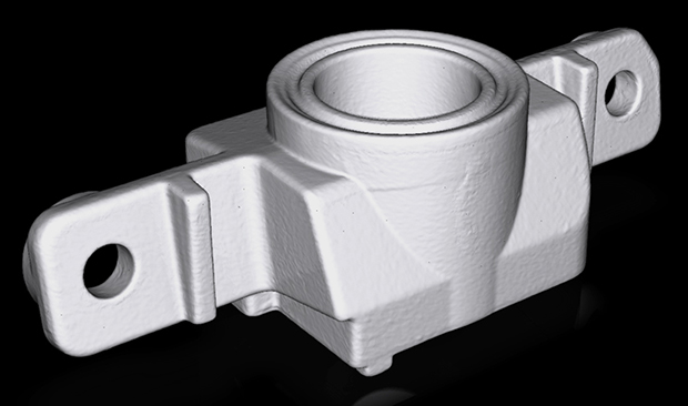 This metal part was scanned in with the HDI Compact C210 3D scanner. Image courtesy of Polyga Inc.