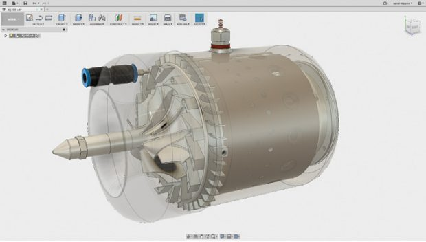 Fusion 360 was used in the design and validation of the microturbine used in many of the lessons. Image courtesy of Autodesk.