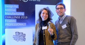 Winner in the professional category: Aidro Hydraulics (left to right: Valeria Tirelli, CEO & Gaetano Corrado, AM Specialist). Image courtesy of Additive Industries.