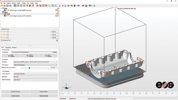 Netfabb 2018 provides a well-organized interface, with tools arranged around a display area in which you can view your model on a build platform matching the machine on which you will output your 3D part.