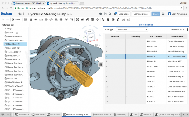 Onshape's new Simultaneous Bill of Materials (BOM) functionality creates and updates BOM data automatically and in real time as an assembly is designed. Anything selected in the BOM is highlighted in the assembly and the instance list as shown here. Image courtesy of Onshape Inc.