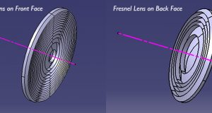 Beginning with the 2018 release of SPEOS, users can now automatically design Fresnel lenses on back-face to improve the efficiency of a projection lens. Image courtesy of OPTIS.