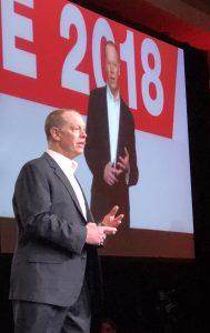 Aras CEO Peter Schroer at ACE 2018.