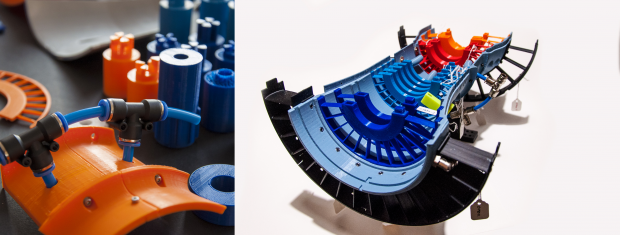 A selection of 3D printed parts and a cross-sectional look inside the Xplorer-1. Image courtesy of 3D Hubs.