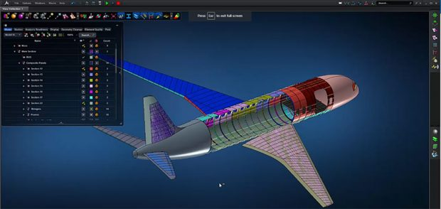 MSC Apex model of a composite layup - airplane structure. Image courtesy of MSC Software.