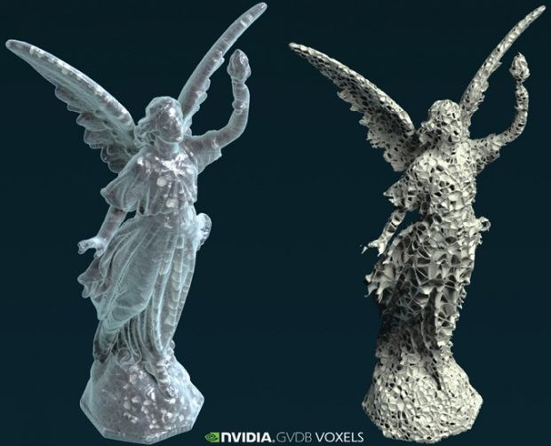 Voxel-based 3D printing with NVIDIA GVDB (GPU voxel database), where the inside structure is optimized based on stress and automatically generated. Image courtesy of NVIDIA.