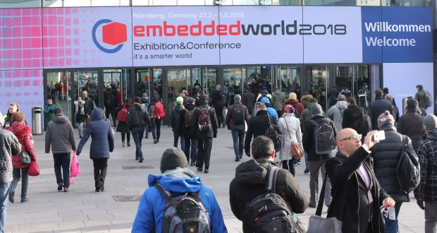 Vendors from around the globe presented hardware, software and services for the embedded technology market. English and German are both official languages for the conference. Image courtesy of Nürnberg Messe.