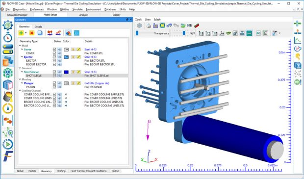 Flow Science has released version 5.0 of its FLOW-3D CAST metal casting simulation software. Shown here is a model setup workspace. Image courtesy of Flow Science Inc.