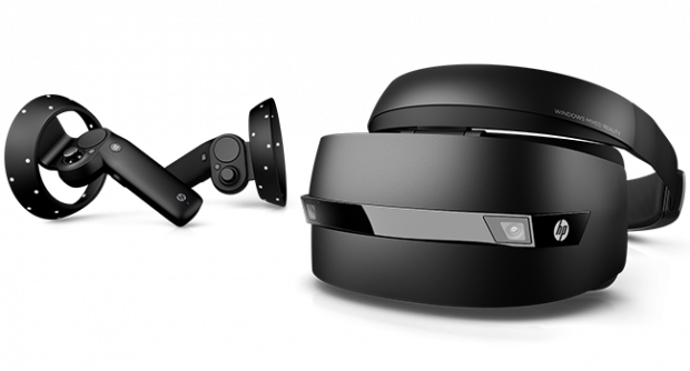 The new HP Windows Mixed Reality Headset—Professional Edition includes Bluetooth-connected motion controllers. Image courtesy of HP Inc.