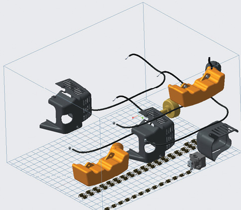 """The Additive Manufacturing extension to Creo 4.0 allows for auto positioning and nesting of components in a """"print tray"""" container, which can be reused and leveraged to save time and money. Image courtesy of PTC."""