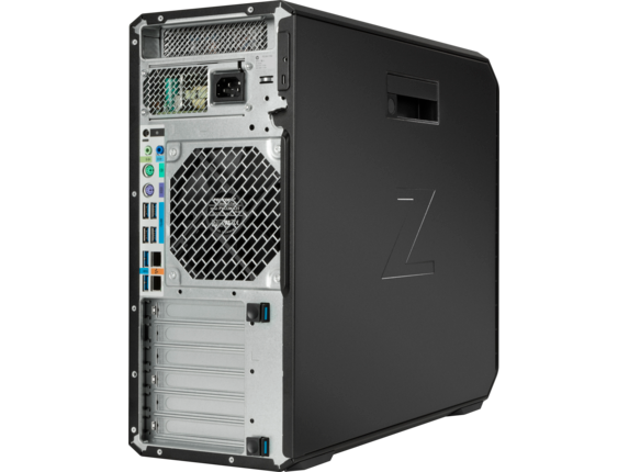 This back-panel view of the HP Z4 workstation shows some of its available interfaces and expansion slots. Image courtesy of HP Inc.