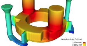 FLOW-3D CAST v5 now outputs the thermal modulus from solidification simulations. Image courtesy of Flow Science Inc.