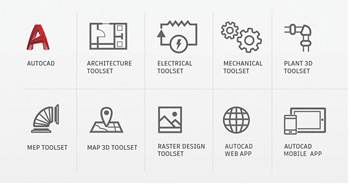 In addition to AutoCAD itself, AutoCAD 2019 includes seven specialized toolsets plus web and mobile apps.
