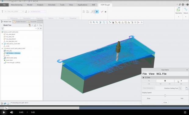 PTC has released version 5.0 of its Creo design from concept to manufacturing system. One of its key enhancements is a new Mold Machining extension that provides high-speed machining toolpaths optimized for molds, dies, electrodes and prototype machining. Image courtesy of PTC.