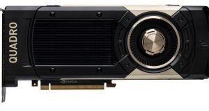 The Quadro GV100 combines 7.4 TFLOPS (one trillion floating-point operations per second) double precision and 14.8 TFLOPS of single-precision performance with a dedicated 118.5 TFLOPS of deep learning performance. Image courtesy of NVIDIA Corp.