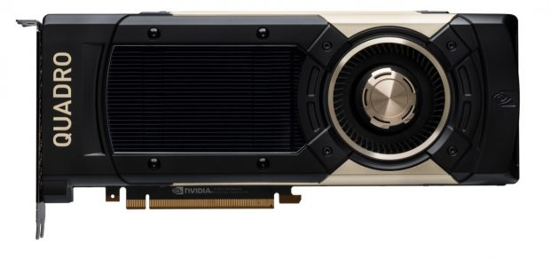The Quadro GV100 combines 7.4 TFLOPS (one trillion floating-point operations per second) double-precision and 14.8 TFLOPS of single-precision performance with a dedicated 118.5 TFLOPS of deep learning performance. Image courtesy of NVIDIA Corp.