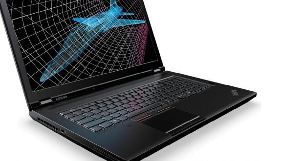 The Lenovo ThinkPad P71 comes in a dark gray sculpted case. The familiar Lenovo red pointing stick has its own set of buttons above the trackpad. Image courtesy of Lenovo.